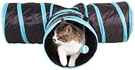 Funny Y Shape 3 Ways Pet Foldable Toys Cat Tunnel Tent Nest Toys Home Folding Training Tunnel Cats Toys - Black&Blue