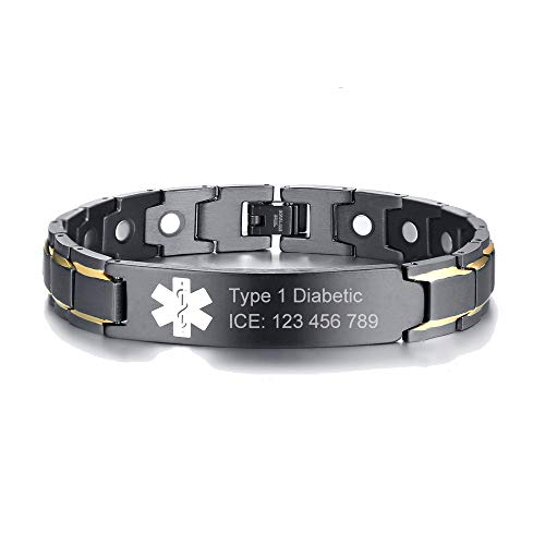Mealguet Jewelry Custom Free Engraving Black Stainless Steel Men's Medical Alert ID Wristband ID Bracelet for Men, 8.6'