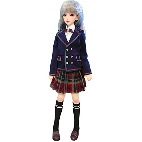 YZCM Bjd Sd Doll Clothes, Student Japanese Style European School Uniform Blue Blazer Suit, Birthday, Suitable for Evening Dress (No Doll),1/4