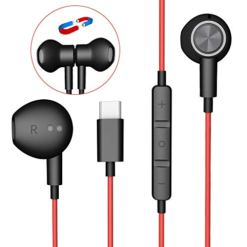 USB C auriculares, auriculares de HiFi estéreo Magnética Tipo C auriculares con micrófono y control de volumen para Google Pixel 2/3/4 / XL, Huawei P30 P20 / 20 30 mate, Samsung nota 10, Xiaomi MI 8
