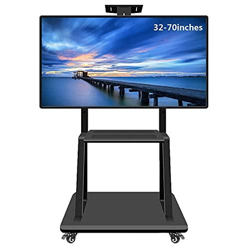 Soportes de TV móvil con ruedas para pantallas de plasma / LCD / LED de 32-70 pulgadas, soporte de TV rodante Soporte de TV ajustable en altura con ruedas bloqueables y estantes de almacenamiento, ca