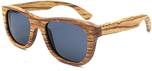 Superlight Unisex zonnebril, gepolariseerd, retro-stijl, zebrahout om te knutselen, met rand van de zonnebril, kleurbescherming UV400 voor unisex en volwassenen (kleur: grijs)