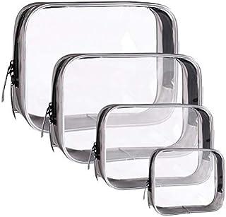 Achy JP PVC化粧ポーチ 透明 ビニールポーチ 透明化粧ポーチ 機能的 大容量 化粧品収納 小物入れ 普段使い 出張 旅行 メイク ブラシ バッグ 化粧バッグ 4件 セット