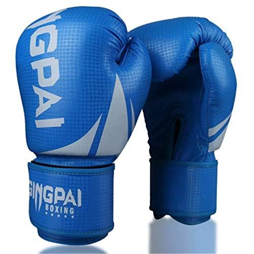 XYXZ Guantes De Boxeo MMA Kick Boxing Glove Mujeres Hombres MMA Muay Thai Fight Glove Pro Guantes De Boxeo para Entrenamiento, Azul, 10Oz