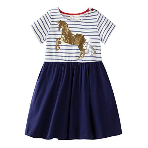 Vestido para niña de algodón, manga corta/larga, informal, estampado informal, 1-7 años azul 1-2 Años