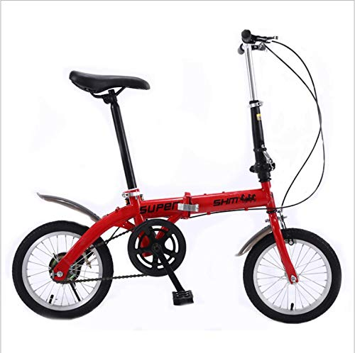 DGAGD 14' Lightweight Folding Bicycle Single Speed ​​Brake Bicycle Red