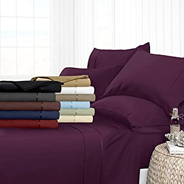 Egyptian Luxury Hotel Collection 4-Piece Bed Sheet Set - Deep Pockets, Wrinkle and Fade Resistant, Hypoallergenic Sheet and Pillow Case Set  - Queen, Purple