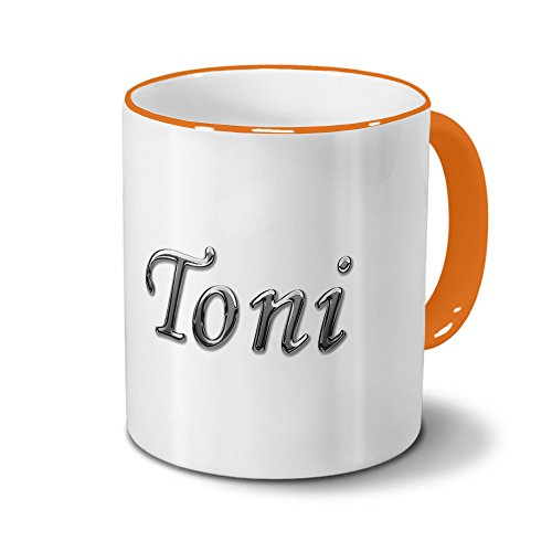 Tasse mit Namen Toni - Motiv Chrom-Schriftzug - Namenstasse, Kaffeebecher, Mug, Becher, Kaffeetasse - Farbe Orange