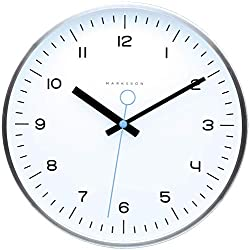 Marksson The Crosby Stainless Steel Wall Clock Silent Non-Ticking Wall Clock, 12 Quartz, Premium Materials, High End Mechanism, Ten Colors (White/Blue Sky)