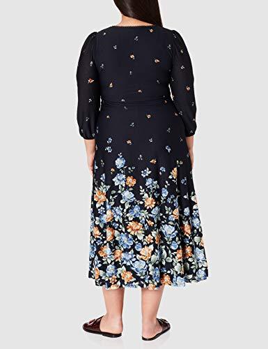 Springfield Vestido Midi Flor Degradada, Azul Claro, L para Mujer