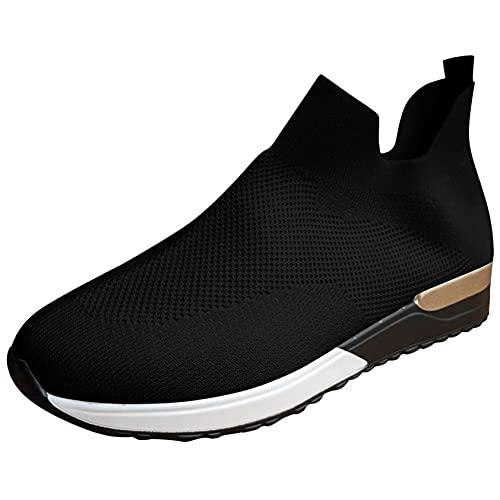 OHQ Zapatillas De Deporte para Mujer Transpirables Malla Sin Cordones Calzado Deportivo Antideslizante Zapatilla para Correr CóModo Y Elegante (Negro, Numeric_39)