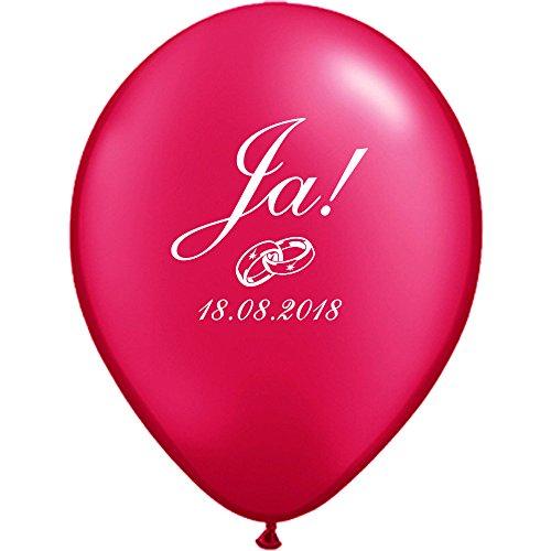 partydiscount24 50 Luftballons Bedrucken Ja!, Ringe & Datum Ø 30 cm - Ballondruck