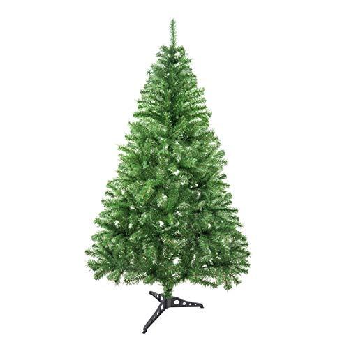 Solagua Árbol de Navidad Artificial Abeto de Hoja Espumillón 120-210cm Arboles C/Soporte Plástico (Verde Brillo, 150cm 293Tips)