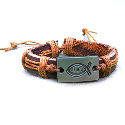 epiphaneia Christian Symbol Jesus Leather Bracelet Adjustable - Men & Women. Mens bracelets & jewelry. Gift for Christmas & birthday for dad. Christians & religious faith gifts (LIGHT BROWN)
