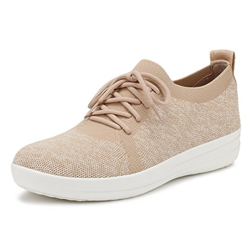 FitFlop Womens F-Sporty Uberknit Neon Blush/Urban White Sneaker - 11