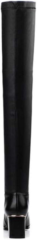 Långa skor för kvinnor, höstlärare, vinterklackens vinterklackens vinterklackens elastiska kraft Knee Slim höga stövlar Ladies Comfortable Thick Heel mode stövlar (färg  svart, storlek  38)  försäljning online spara 70%