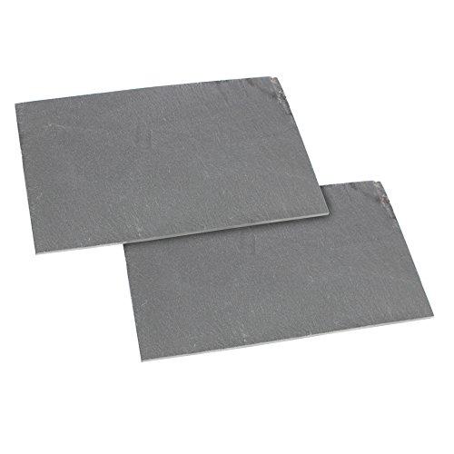 com-four® 2X Schieferplatte als Buffetplatte, 22 x 14 cm, Naturschiefer, Untersetzer