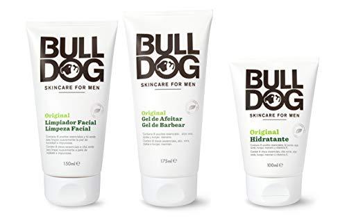 Bulldog Cuidado Facial para Hombres - Kit Rutina Cuidado Facial Hidratante Original , Gel Limpiador Facial 150 ml + Gel de Afeitar 175 ml + Crema Hidratante 100 ml, Blanco