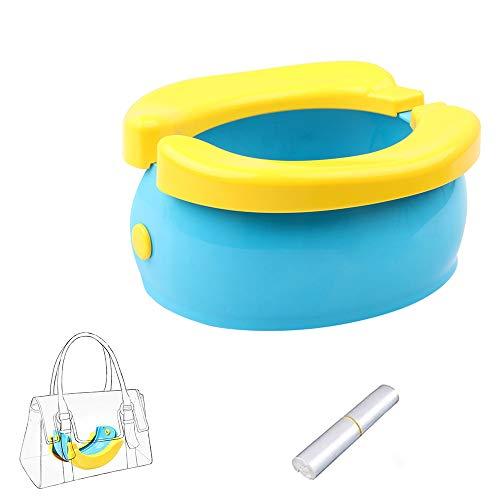 YUEFF Portatile Bambino Gabinetto Baby Toilet Training Travel Vasino da Viaggio Pieghevole Potty Sedile Portatile E Comodo Toilette per Bambini con 20 Sacchetti di Carta Igienica