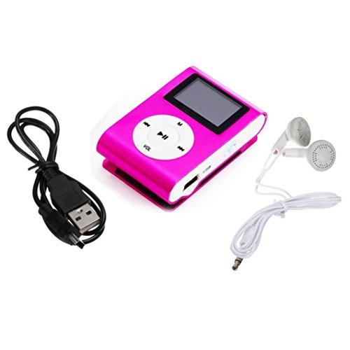 FEITONG Mini USB Clip MP3 Player Musik Player LCD Schirm Kopfhörer Datenkabel Unterstützung 32 GB Micro SD TF Karte (Rosa)