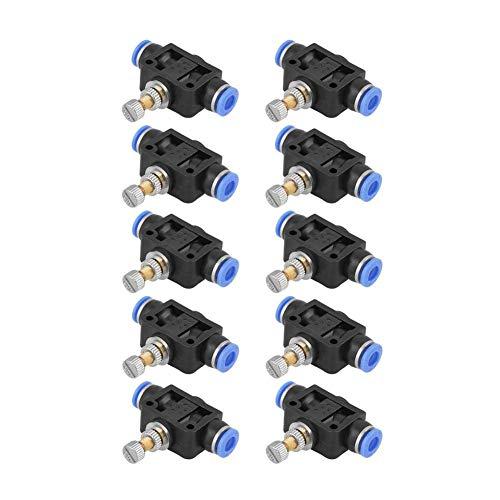 SUNTAOWAN Válvula Conector de válvula de Control de Flujo de Aire, 10 PC/Empujar hacia adentro el regulador de la Velocidad de Flujo de Aire de 6 mm neumática de Control de fácil instalación Larga
