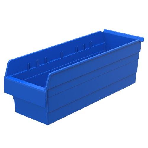 Akro-Mils 30884 ShelfMax 8 kunststof vuilnisbak, stapelbaar, 24 cm x 8 cm x 8 cm, blauw, 8 stuks