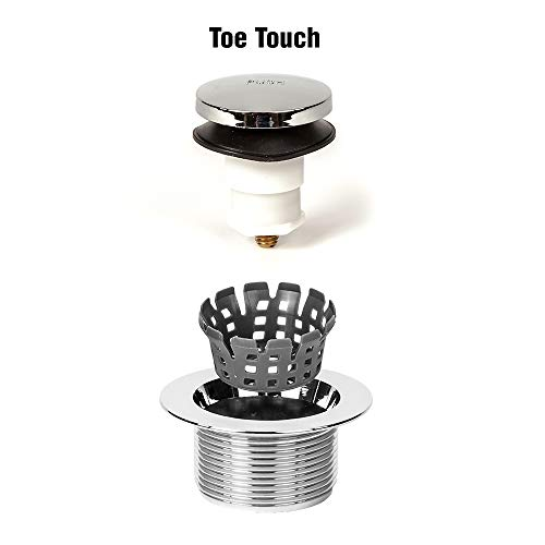 PF WaterWorks TubSTRAIN Universal Toe Touch (Tip Toe or Foot Act.) Bath Tub Drain Stopper w 3/8