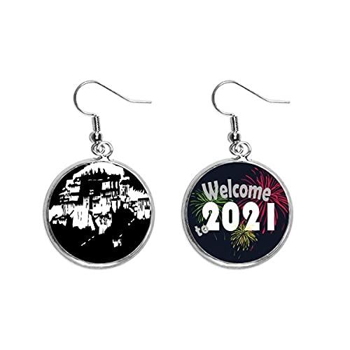 Tibet Lhasa Cultura Potala Pendientes Pendientes Joyería 2021 Bendición