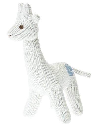 Beba Bean Knit Cotton Animal Rattle for Baby (Giraffe Ivory)
