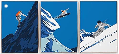 JIAJIFBH Impresiones y Carteles 3 piezas20x30cm sin Marco Cartel de Arte Retro Abstracto Cabina de Invierno Deportes Snowboard Viajes Paisaje Impresiones en Lienzo Decoración de la Pared del hogar