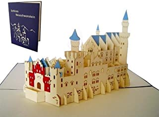 LIN Pop Up 3D Greeting Card for Architecture Enthusiasts, Neuschwanstein Castle, large card (6 x 7.8 inches), (#175)
