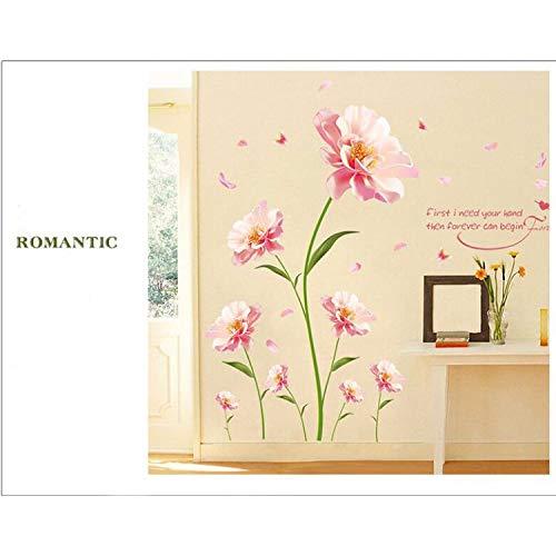 sjuims Elimina Pegatinas De Pared Flores Románticas Entre Las Calcomanías Decorativas del Fondo del Dormitorio Cálido Muebles De Pared Sticker140 * 210Cm