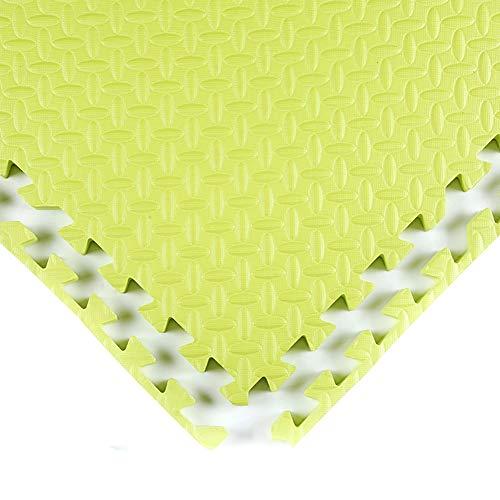 NQ-ChongTian Alfombra de juego de espuma antideslizante, 1 cm de grosor para zona de juego, gimnasio, debajo de la piscina, multicolor (color: verde lima, tamaño: 30 cm x 30 cm x 40 azulejos).