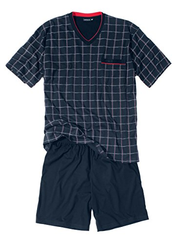 Götzburg Herren Shorty, Kurzarm, Baumwolle, Single Jersey, Navy, kariert 64