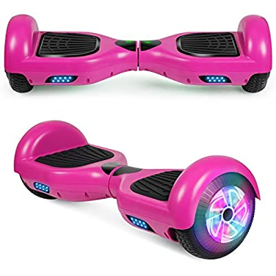 """Spadger Hoverboard UL2272 Certified Colorful LED Banner Marquee Flash Lights Two 6.5"""" Wheels Self-Balancing Electric Scooter Hover Board for Adults Kids (Purple)"""
