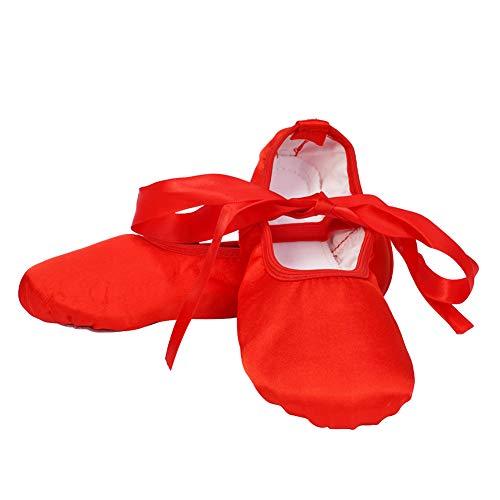 VCIXXVCE Girls Satin Ballet Dance Shoes Ballet Slippers Gymnastics Flats Split Sole with Ribbon,Red,11.5M Little Kid