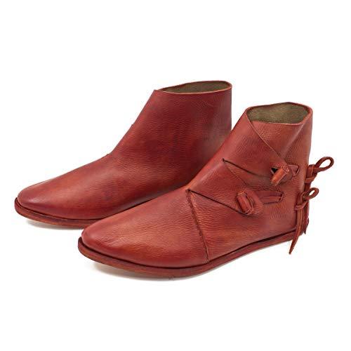 Vehi Mercatus Wikinger-Schuhe oder Mittelalter-Schuhe doppelt besohlt Rot Gr. 46