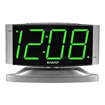 SHARP Home LED Digital Alarm Clock – Swivel Base - Outlet Powered Simple Operation Alarm Snooze Brightness Dimmer Big Green Digit Display Silver Case