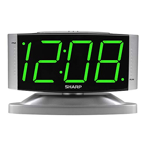 SHARP Home LED Digital Alarm Clock – Swivel Base - Outlet Powered, Simple Operation, Alarm, Snooze, Brightness Dimmer, Big Green Digit Display, Silver Case