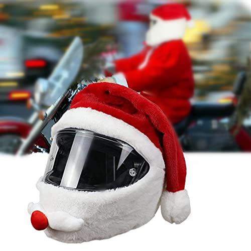 motorcycte Helmet Cover San-ta Claus Christmas Hat,Motorbike Funny Crazy Case,Fluffy Funny Motorbike Helmet Cover, Outdoor Motorbike Full Helmets Protection Cover, for Motorcycle Lovers, Adult Unisex