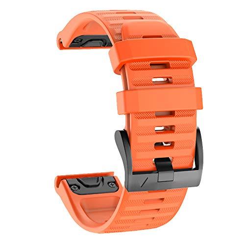 Isabake Correa de Reloj para Garmin Fenix 6X / 6X Pro, Fenix 5X / 5X Plus, Accesorios Fenix 3/3 HR, Banda QuickFit de 26 mm de Ancho (Naranja)