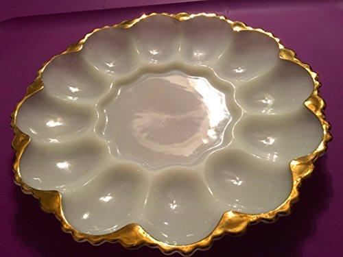 WHITE MILK GLASS DEVIL EGG PLATE TRIMMED IN GOLD