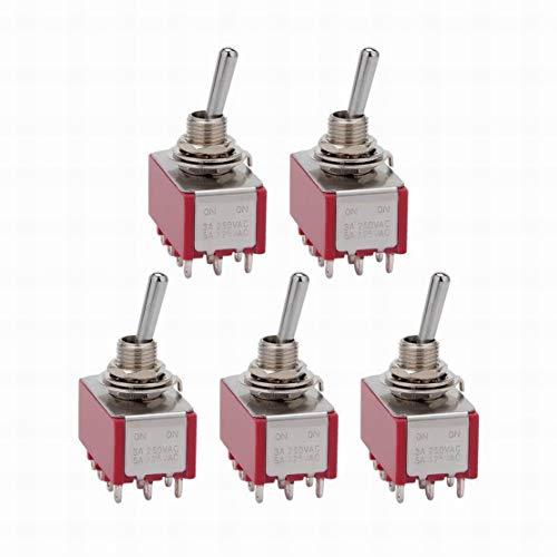 5Pcs AC 125V / 5A 250V / 3A ON/ON 2 posiciones 12 terminales Interruptor de palanca 4PDT