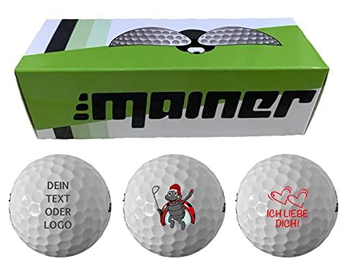 Emainer Golfball, 3 individuell mit Deinem Text oder Logo Bedruckte Golfbälle, Dieser Ball kennt auch Dein Handicap