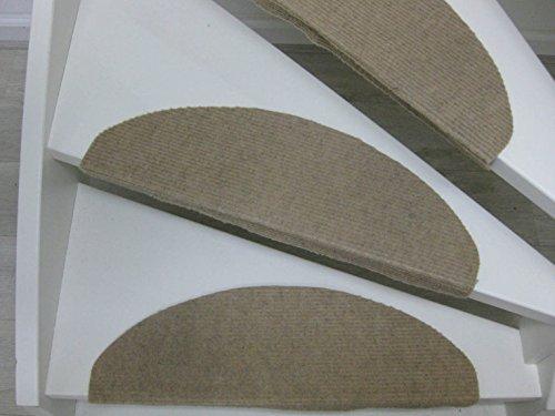 Teppichwahl Alfombrillas para peldaños de Escalera Lilongwe 65 x 21 x 4 cm Azul, Antracita y Beige (Beige)