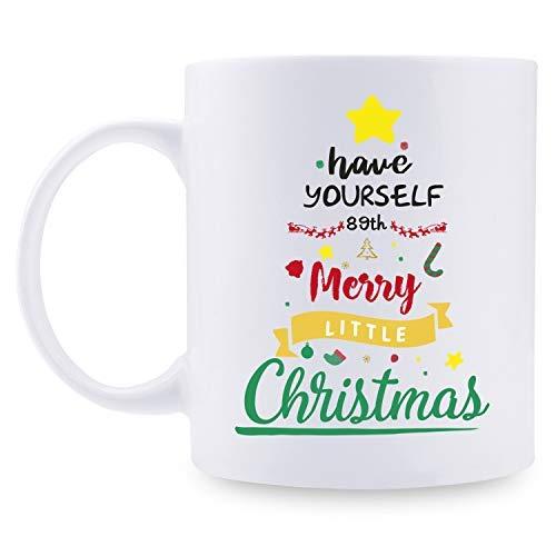 89 regalos de cumpleaños para mujeres – 89 para mujeres, regalos de cumpleaños de 89 años, taza de Papá Noel, taza de árbol de Navidad de 11 onzas para fiestas, celebraciones, reuniones