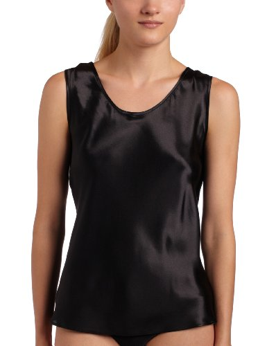 Women's Satin Charmeuse Tailored Tanktop camisole, Ivory, Medium