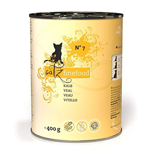 catz finefood N° 7 Kalb Feinkost Katzenfutter nass, verfeinert mit Aprikose & Ananas, 6 x 400g Dosen
