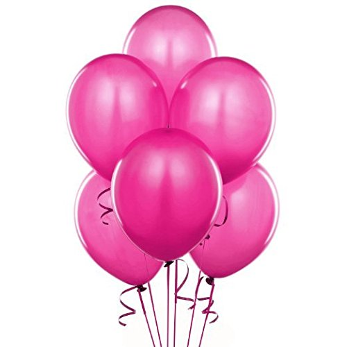 """Lokman 12"""" Hot Pink Latex Metallic Balloons for Party Decoration, 100 Per Unit (Hot Pink)"""