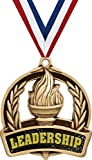 Leadership Medals, 2' Gold Student Achievement Medal Award, Comes with Neck Ribbon, 5 Pack Prime